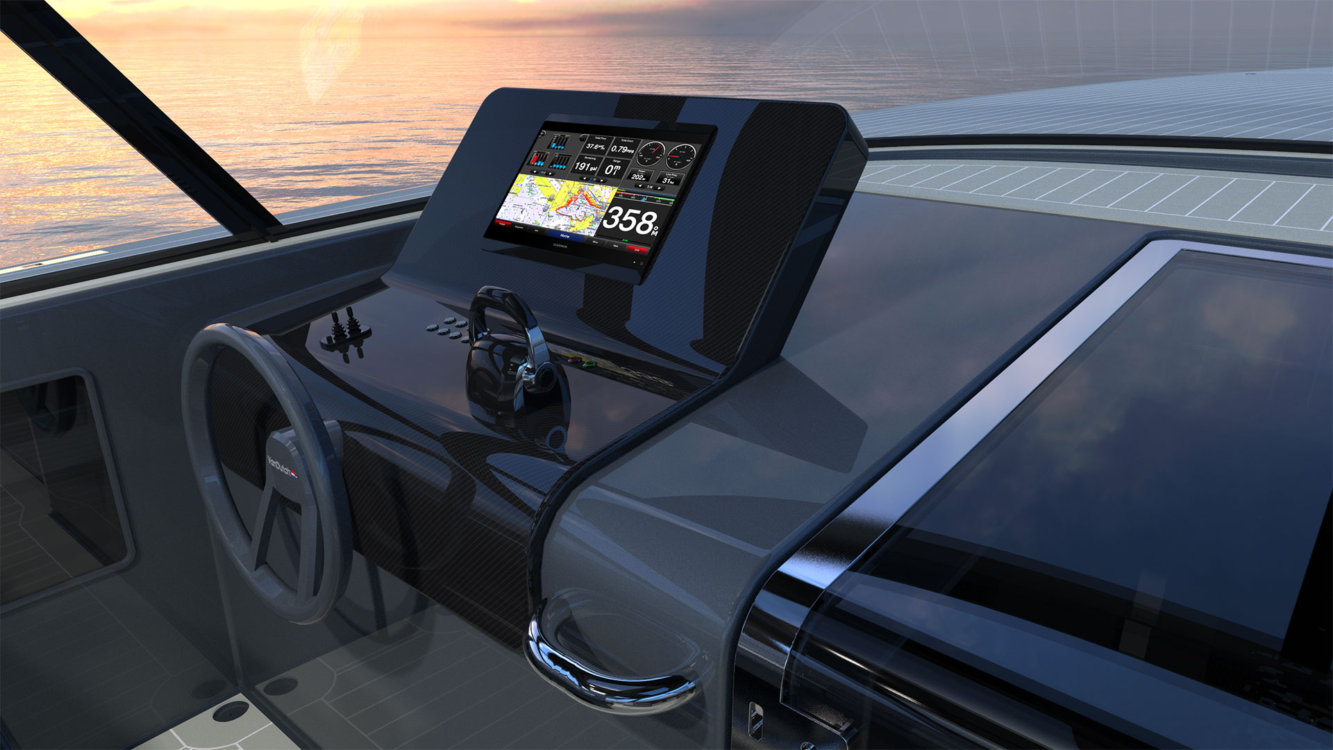 "Cruise with the standard 12"" monitor, or upgrade to a single 17"" or dual 12"" monitors for maximum vessel control, all from the new raised helm display."